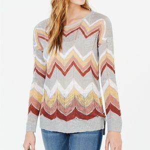 NWT Hippie Rose Juniors' Chevron Pointelle Sweater